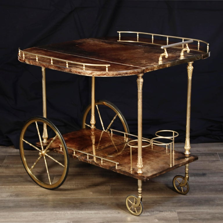 Mid-20th Century Aldo Tura Lacquered Goatskin and Brass Italian Double Drop-Leaf Bar Cart, Signed For Sale