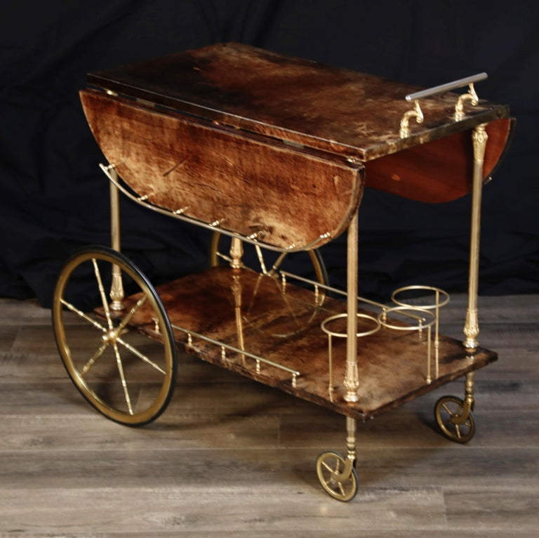 Aldo Tura Lacquered Goatskin and Brass Italian Double Drop-Leaf Bar Cart, Signed For Sale 1