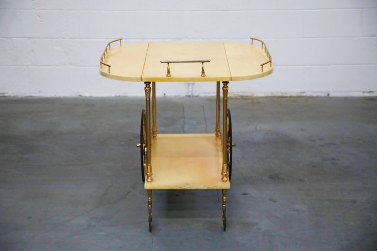 Aldo Tura Lacquered Goatskin and Brass Italian Double Drop-Leaf Bar Cart, Signed For Sale 2