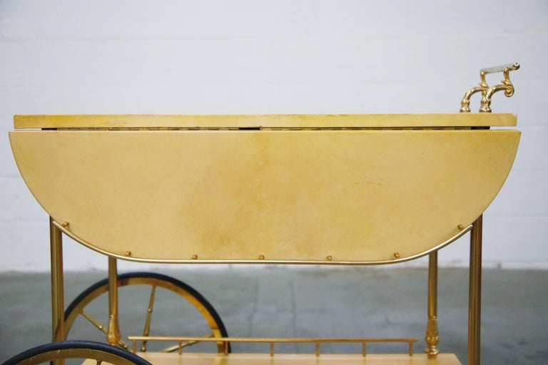Aldo Tura Lacquered Goatskin and Brass Italian Double Drop-Leaf Bar Cart, Signed For Sale 4