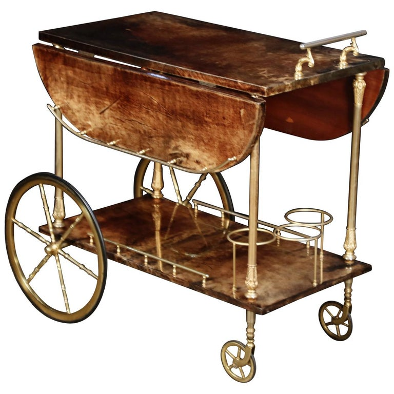 Aldo Tura Lacquered Goatskin and Brass Italian Double Drop-Leaf Bar Cart, Signed For Sale