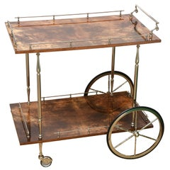 Aldo Tura Lacquered Goatskin and Nickel Silver Bar Cart Trolly Midcentury