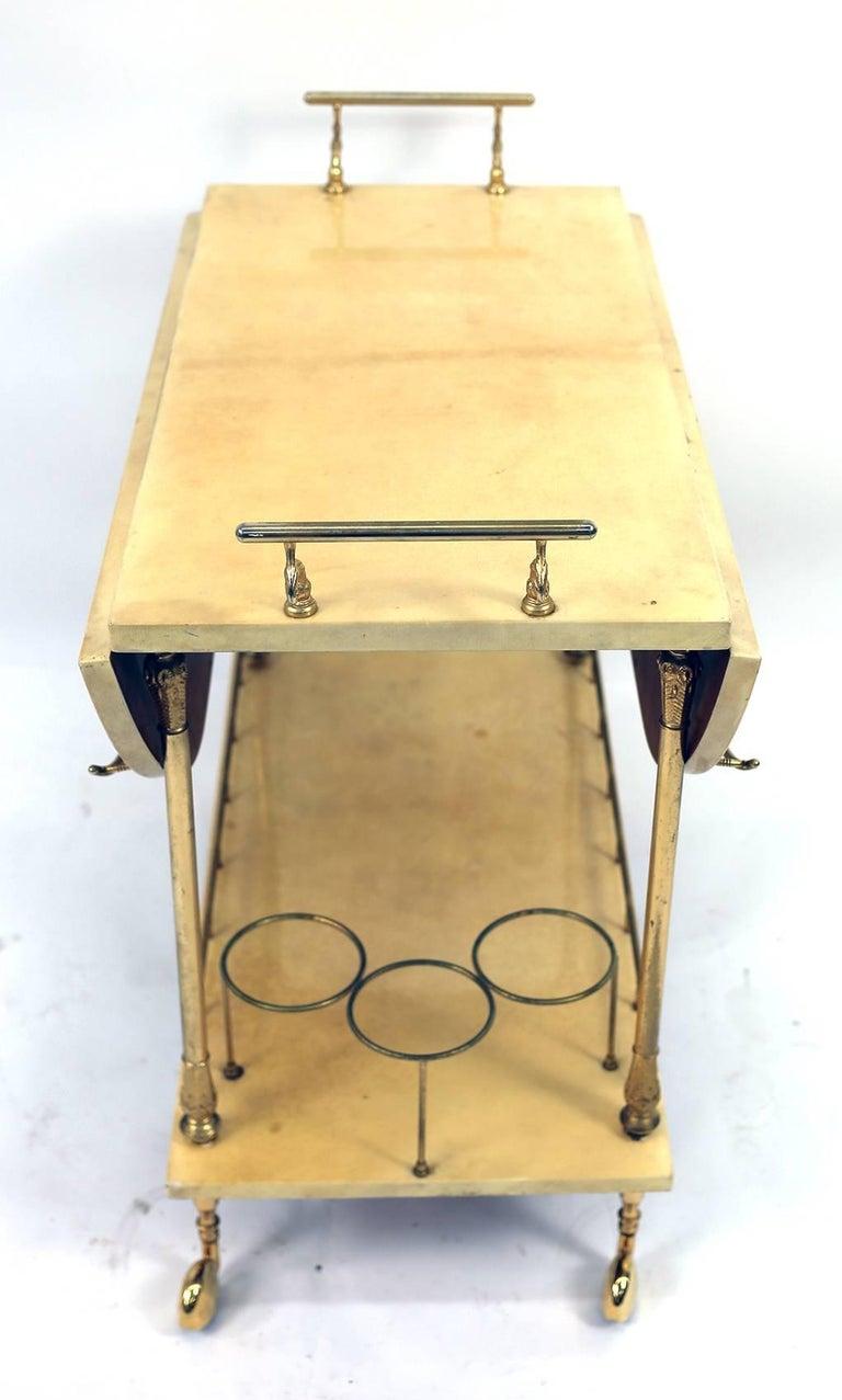 Italian Aldo Tura Lacquered Goatskin Bar Cart For Sale