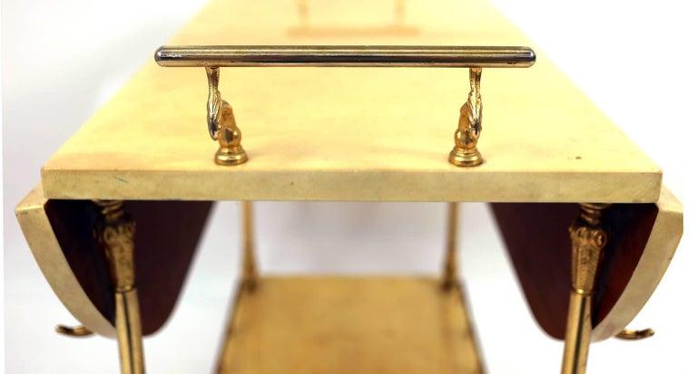 Brass Aldo Tura Lacquered Goatskin Bar Cart For Sale