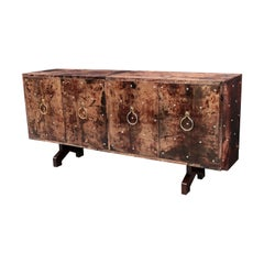 Aldo Tura Lacquered Goatskin Four Door Sideboard