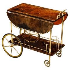 Aldo Tura Lacquered Goatskin Italian Double Drop-Leaf Bar Cart, 1950s, Signed
