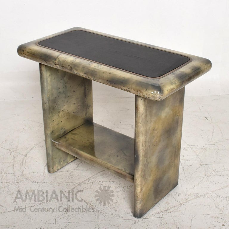Aldo Tura Lacquered Goatskin Leather and Brass Side Tables Italian Modern 1960s For Sale 5