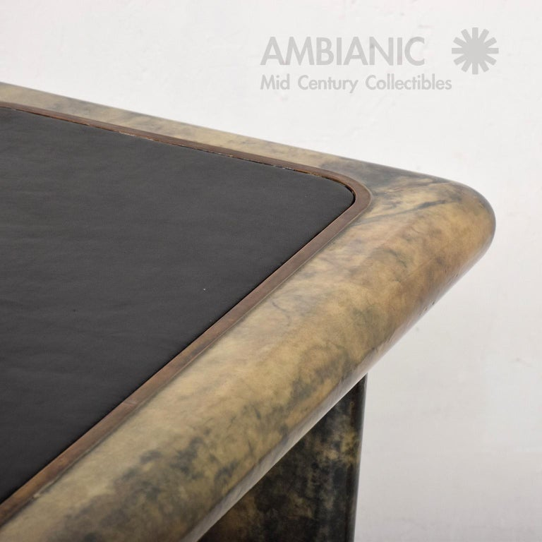 Mid-20th Century Aldo Tura Lacquered Goatskin Leather and Brass Side Tables Italian Modern 1960s For Sale