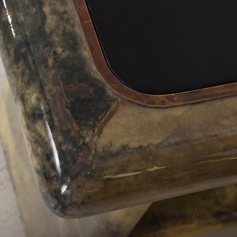 Aldo Tura Lacquered Goatskin Leather and Brass Side Tables Italian Modern 1960s For Sale 1