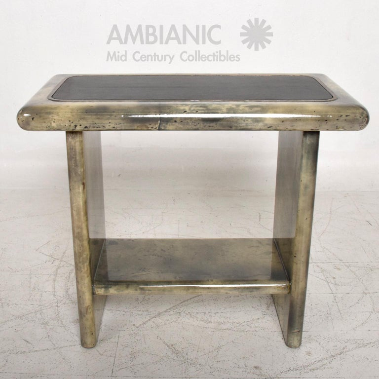 Aldo Tura Lacquered Goatskin Leather and Brass Side Tables Italian Modern 1960s For Sale 2