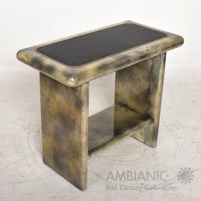Aldo Tura Lacquered Goatskin Leather and Brass Side Tables Italian Modern 1960s For Sale 3