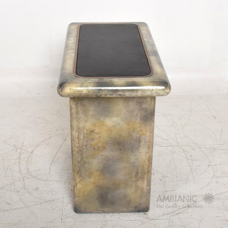 Aldo Tura Lacquered Goatskin Leather and Brass Side Tables Italian Modern 1960s For Sale 4