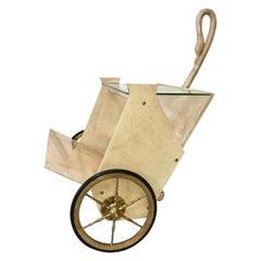 Aldo Tura Lacquered Goatskin Magazine Cart