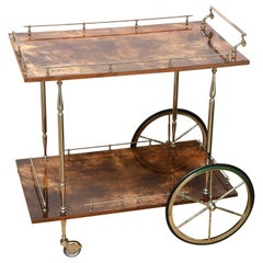 Aldo Tura Lacquered Goatskin & Nickel Silver Bar Cart Trolly Mid-Century Modern