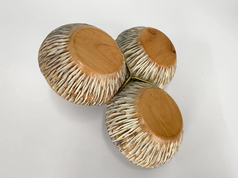 Aldo Tura Macabo Centerpiece in Hand Carved Cerused Wood Brass, Bowl Italy 1950s For Sale 4
