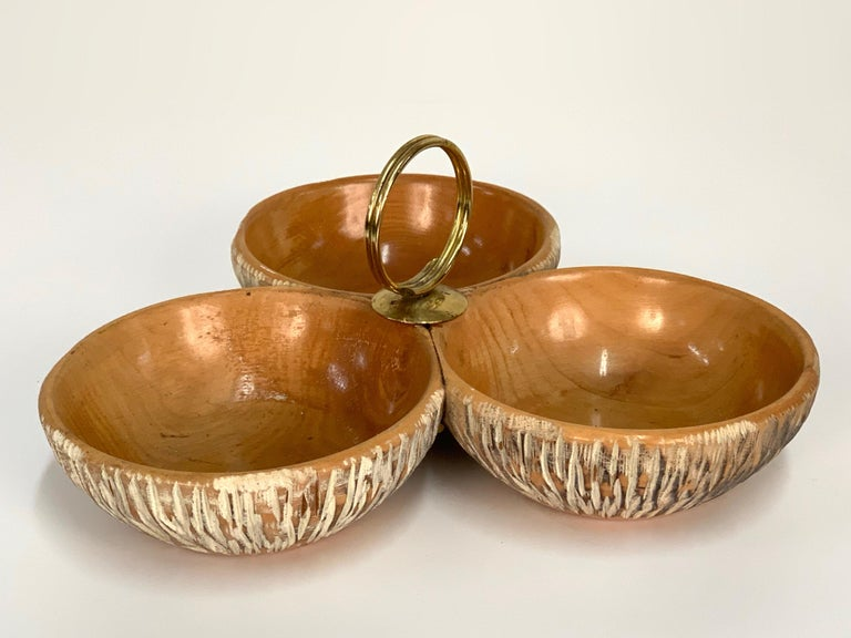 Aldo Tura Macabo Centerpiece in Hand Carved Cerused Wood Brass, Bowl Italy 1950s For Sale 1