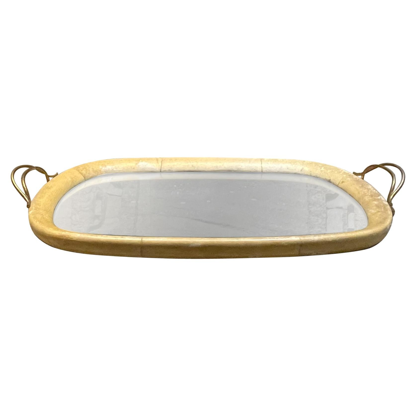 Aldo Tura Macabo Exquisite Serving Tray Mirrored Goatskin and Brass Italy 1940s