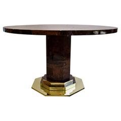 Aldo Tura Midcentury Brown Goatskin and Brass Dining Table