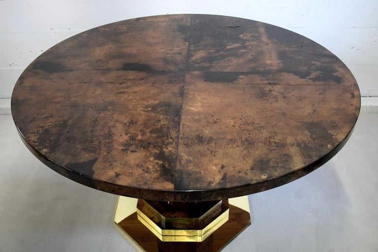 Italian Aldo Tura Mid-century Brown Goatskin and Brass Dining Table For Sale