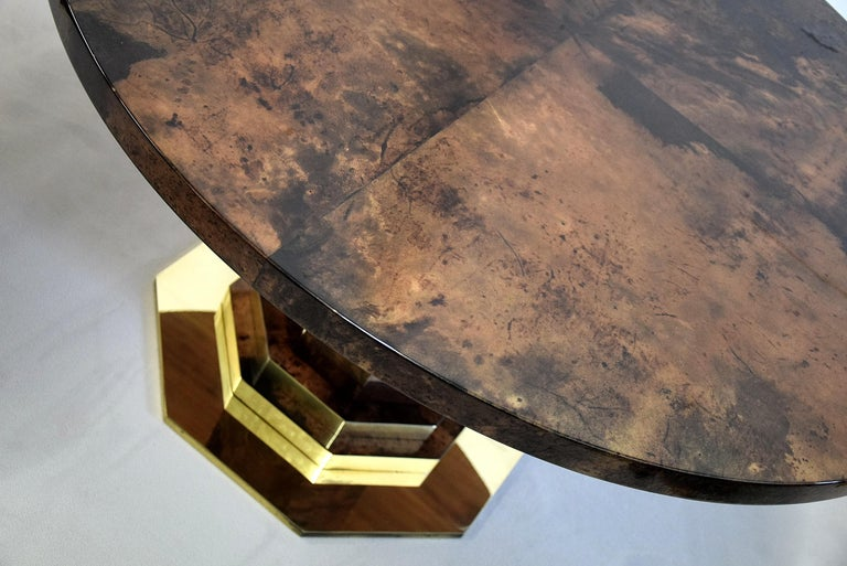 Aldo Tura Mid-century Brown Goatskin and Brass Dining Table In Good Condition For Sale In Weesp, NL