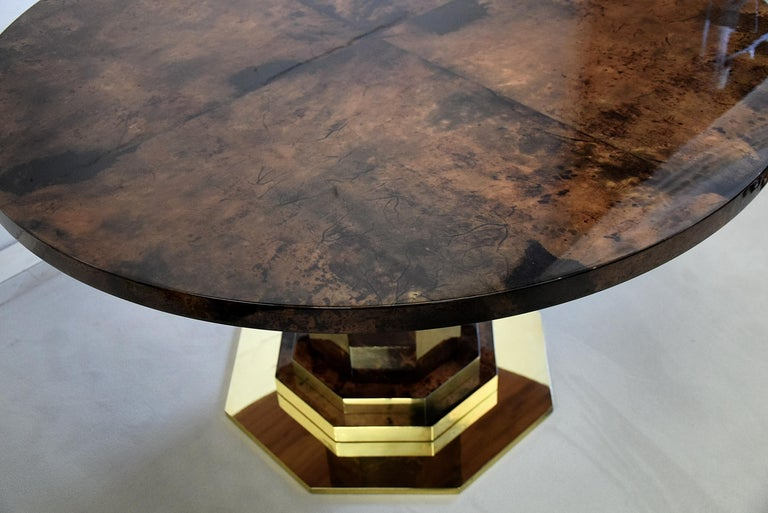 Aldo Tura Mid-century Brown Goatskin and Brass Dining Table For Sale 1