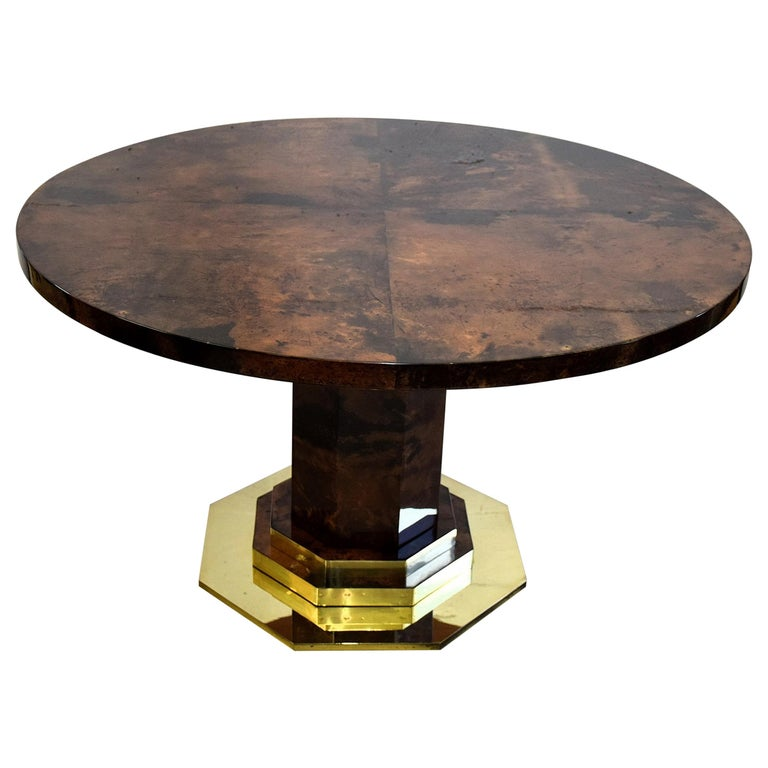 Aldo Tura Mid-century Brown Goatskin and Brass Dining Table For Sale