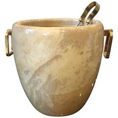 Aldo Tura Mid-Century Modern Brass and Wood Ice Bucket, circa 1960
