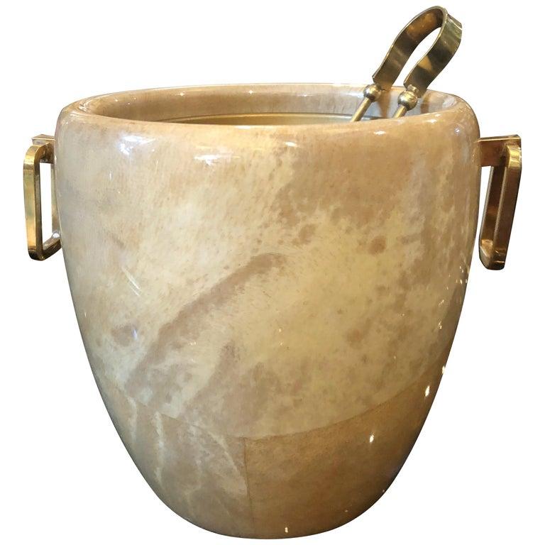 Aldo Tura Mid-Century Modern Brass and Wood Ice Bucket, circa 1960 For Sale