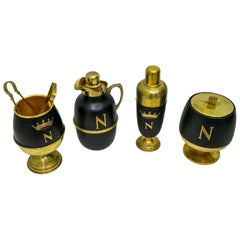 Aldo Tura Mid-Century Modern Italian Brass Cocktail Set for Napoleon Cognac 1960