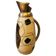 Aldo Tura Mid-Century Modern Painted Wood and brass Thermos Carafe, circa 1960