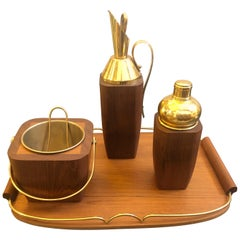 Aldo Tura Mid-Century Modern Wood and Brass Cocktail Set, circa 1960