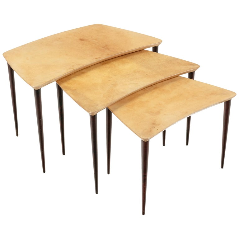 Aldo Tura Midcentury Goatskin Nesting Tables, Italy, 1960s For Sale