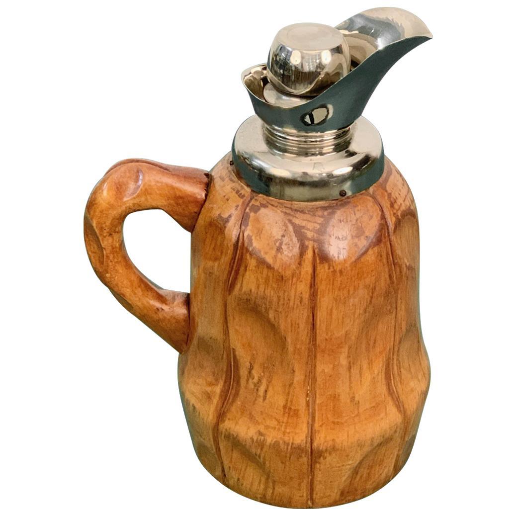 Aldo Tura Midcentury Walnut Wood Italian Thermos Decanter for Macabo, 1950s