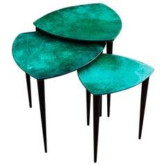 Aldo Tura Nesting Tables Green Goatskin