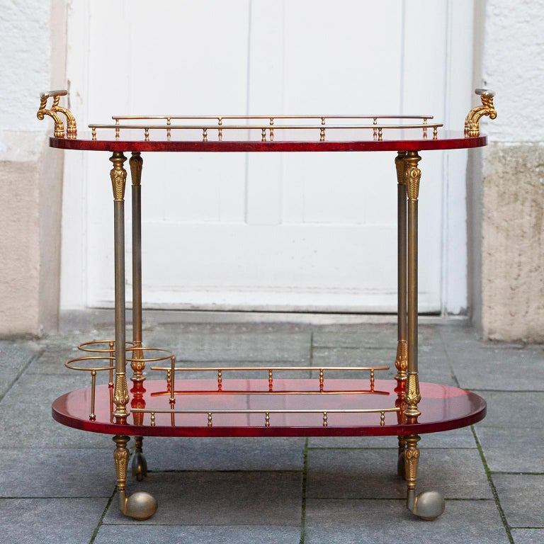 Hollywood Regency Aldo Tura Oval Bar Cart Red Goatskin, 1960s