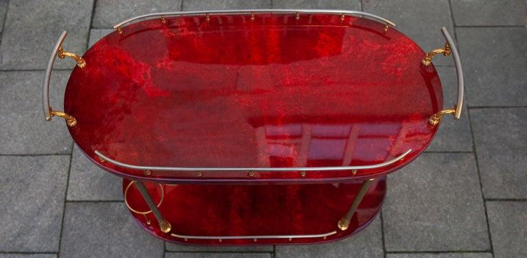 Italian Aldo Tura Oval Bar Cart Red Goatskin, 1960s