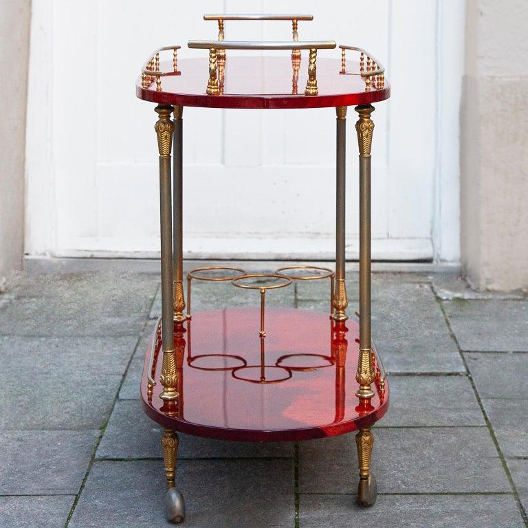 Aldo Tura Oval Bar Cart Red Goatskin, 1960s In Good Condition In Munich, DE