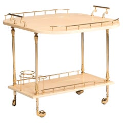 Aldo Tura Parchment and Brass Hardware Wheeled Tray Dry Cocktail Bar, 1950s