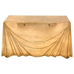 Aldo Tura Parchment Leather Trompe l'oeil Draped Console