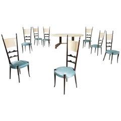 Aldo Tura Pergament ovaler Tisch mit acht Stühlen, 1950-1960