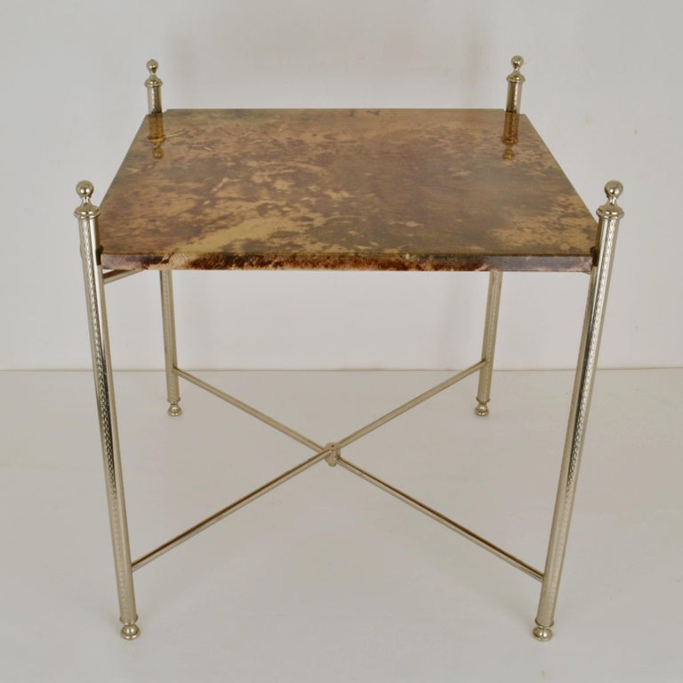 Mid-Century Modern Aldo Tura Parchment Side Table on Chrome Legs For Sale