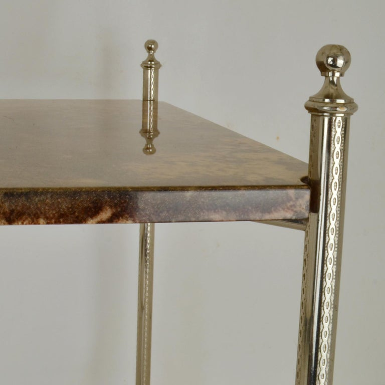 Italian Aldo Tura Parchment Side Table on Chrome Legs For Sale