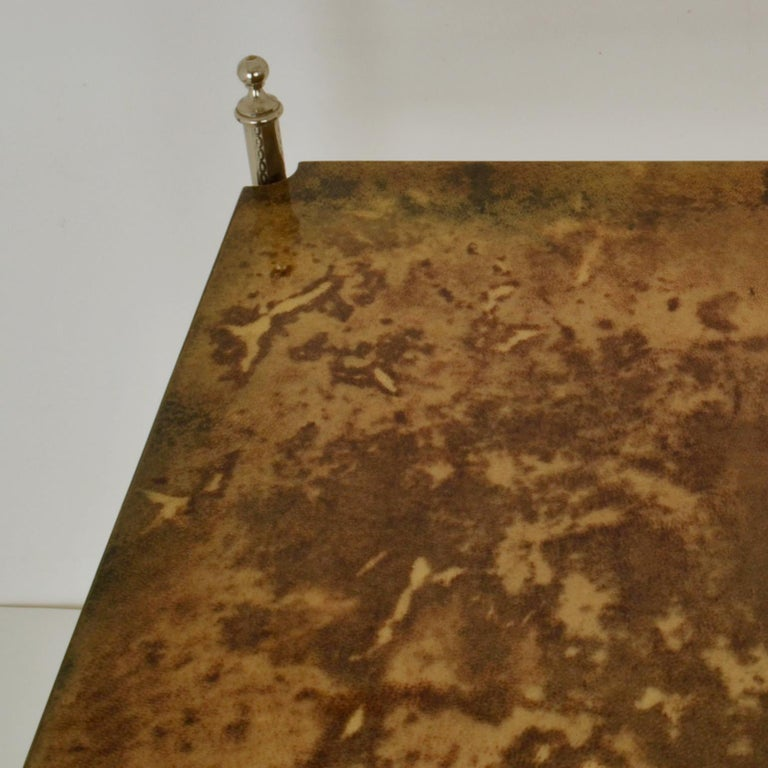 Aldo Tura Parchment Side Table on Chrome Legs In Excellent Condition For Sale In London, GB