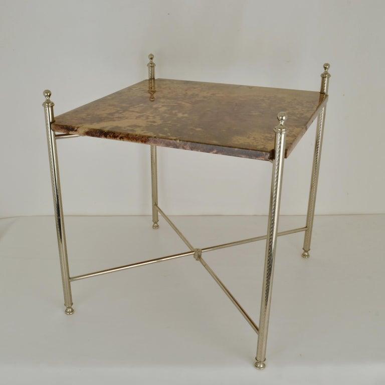 Goatskin Aldo Tura Parchment Side Table on Chrome Legs For Sale