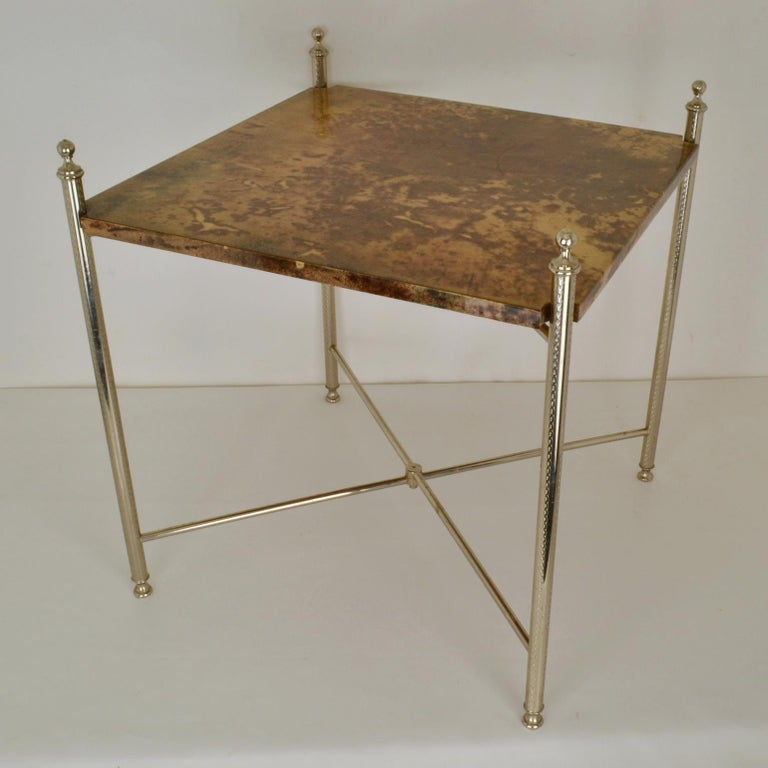 Aldo Tura Parchment Side Table on Chrome Legs For Sale 1