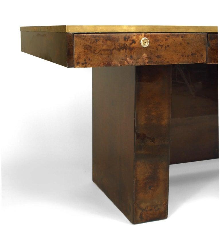 Mid-Century Modern Aldo Tura Parchment Veneered Desk With Vanity Panel For Sale