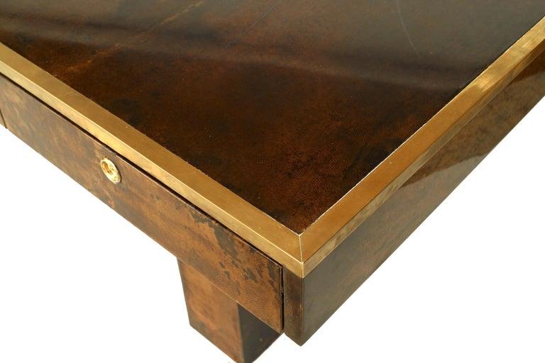 Italian Aldo Tura Parchment Veneered Desk With Vanity Panel For Sale