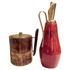 Aldo Tura, Red and Brown Lacquered Parchment Jar and Ice Bucket, Italy, 1950