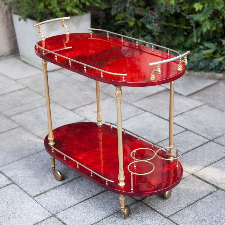 Hollywood Regency Aldo Tura Red Goatskin Bar Cart For Sale
