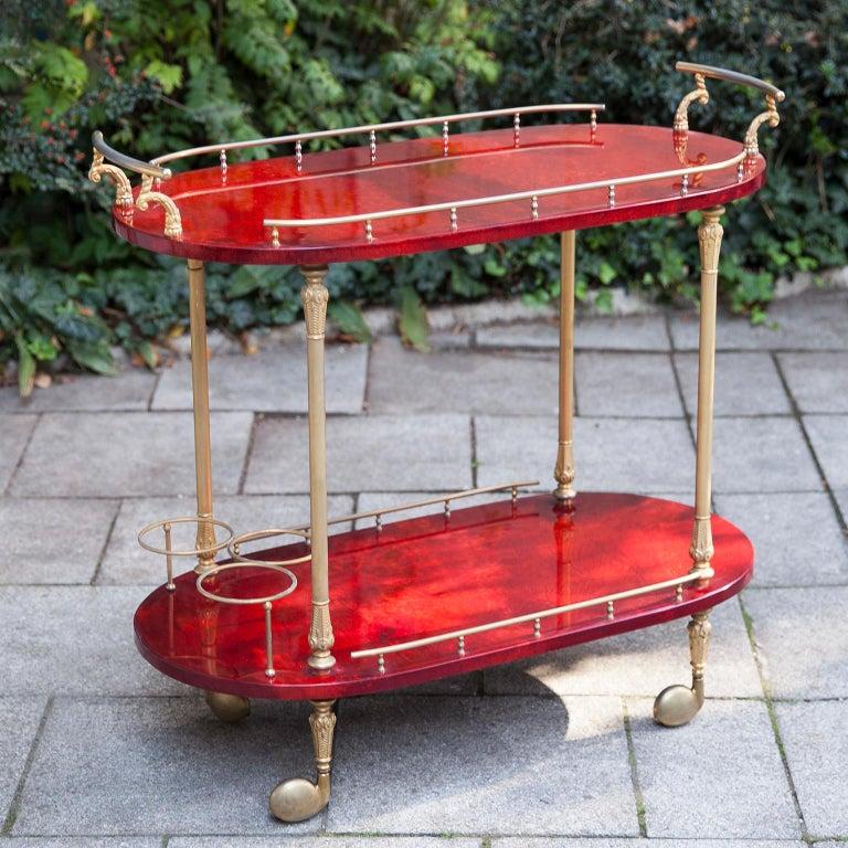 Italian Aldo Tura Red Goatskin Bar Cart For Sale